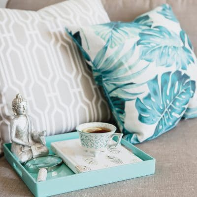 turquoise pillows and cup of tea - The Rainwoman blog